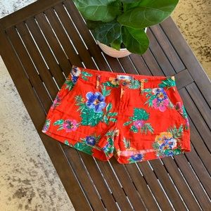Red floral linen shorts
